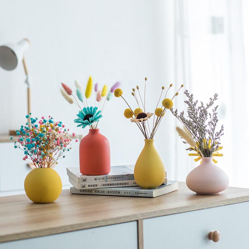 北欧风创意简约桌面轻奢陶瓷小花瓶客厅电视柜插花干花装饰品摆件