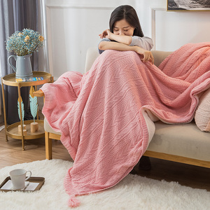 Sue knitted wool blanket double thick coral velvet blanket winter warm lamb flannel blanket quilt