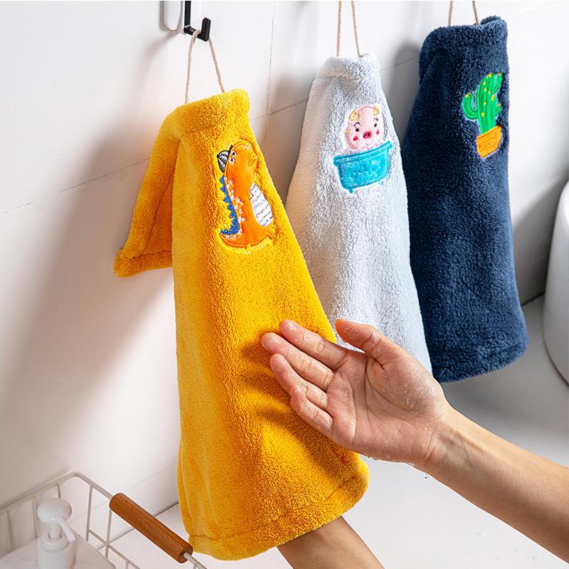 儿童可爱擦手布挂式擦手巾厨房懒人抹布吸水毛巾卫生间家务清洁