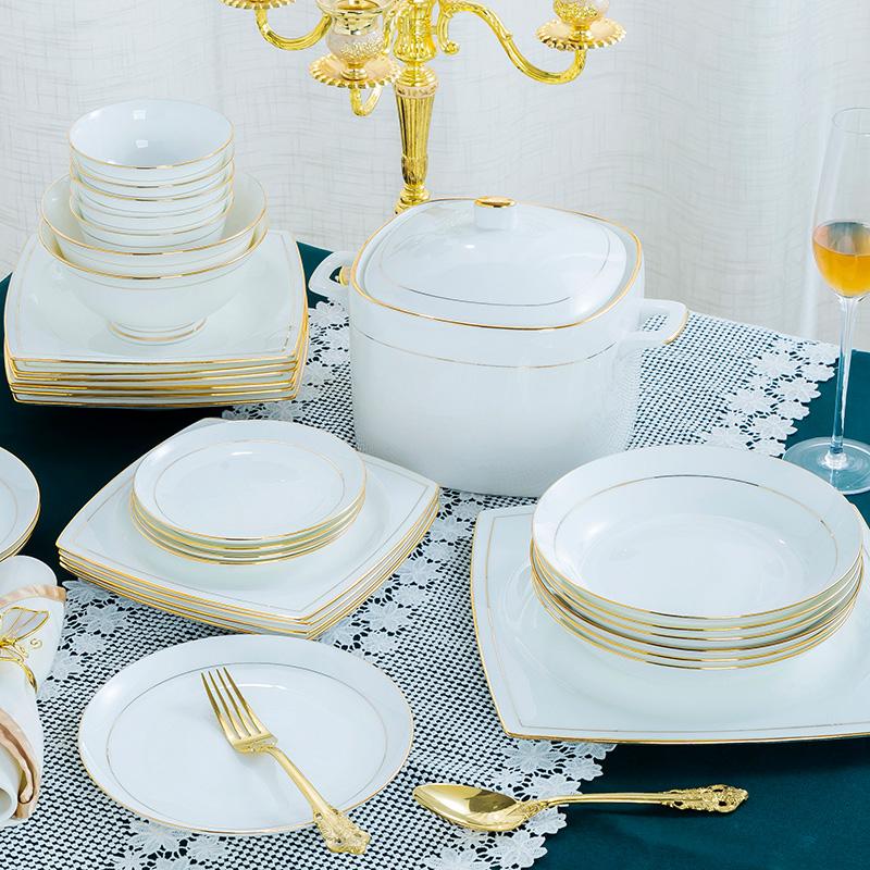 家用金边骨瓷碗碟套装景德镇陶瓷餐具创意简约轻奢碗盘子组合欧式