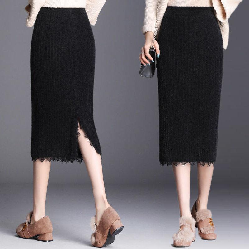 冬季仿水貂绒加厚蕾丝针织半身裙包臀中长款一步裙开衩毛线裙女