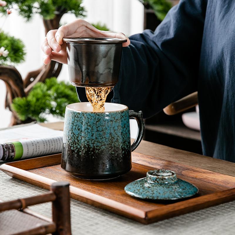 创意个性杯子陶瓷马克杯带盖过滤喝水杯家用咖啡杯功夫茶杯个人杯