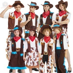 万圣节化妆舞会服装cosplay演出成人儿童男女西部牛仔服装亲子装图片