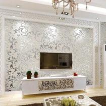 卧室婚房中国客厅有图案壁纸电视背景墙墙纸无纺布温馨家装主材