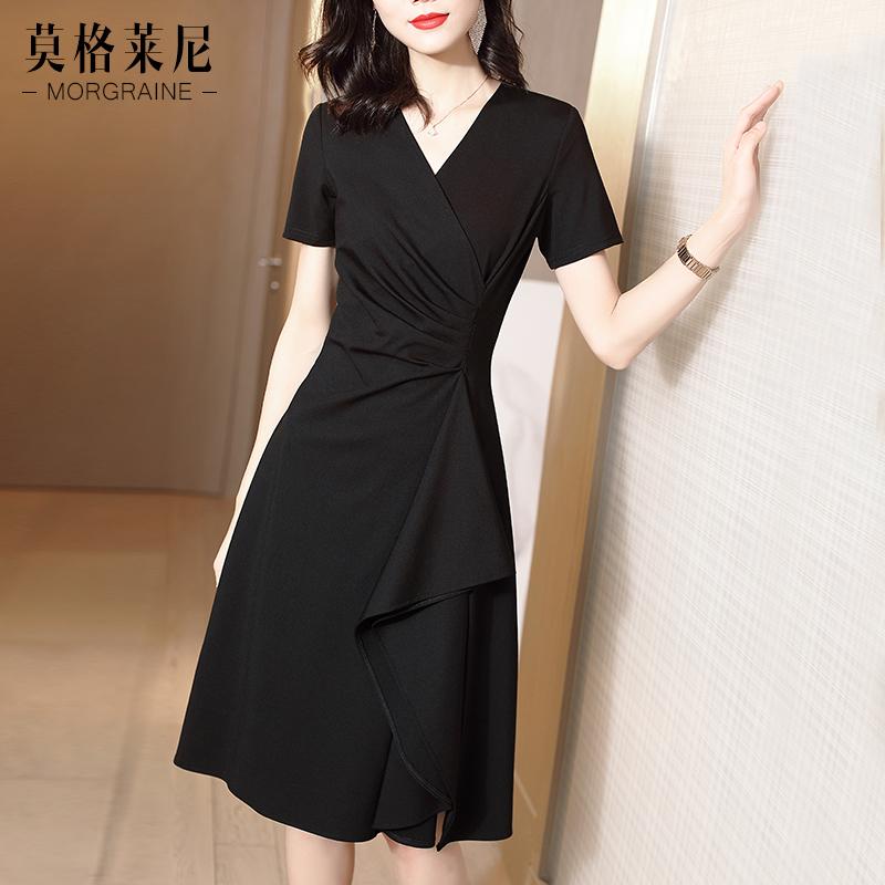 黑色连衣裙2020新款夏季短袖收腰显瘦气质小黑裙V领女装修身裙子