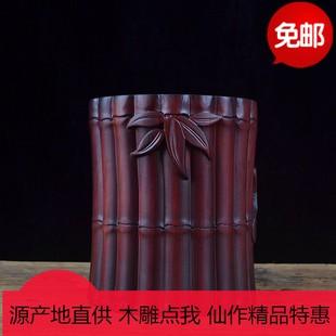 实木红木特大号雕刻笔筒玫瑰紫檀笔筒工艺品文房书法用品摆件礼品图片