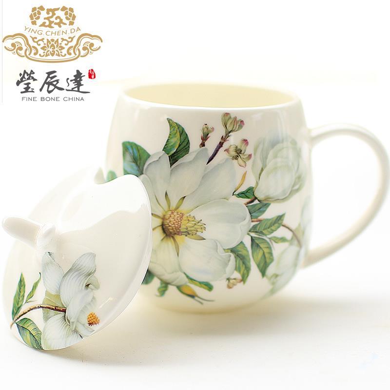 骨瓷马克杯带盖勺创意杯子牛奶杯陶瓷情侣水杯可爱韩版约咖啡杯