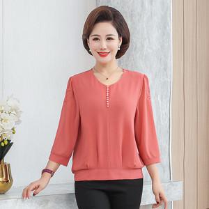 Fashion middle-aged mother loaded chiffon shirt 2020 spring new style loose large size women's middle-aged and elderly shirt jacket