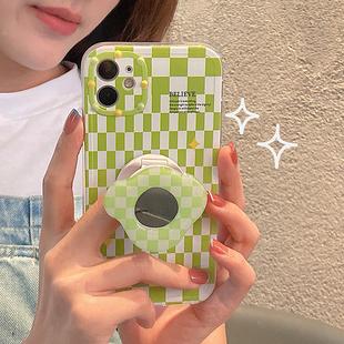 小清新绿格子带支架华为全包手机壳