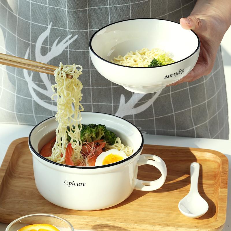 泡面汤碗家用陶瓷拉面餐具碗筷套装日式带手柄带盖大碗一人食便携