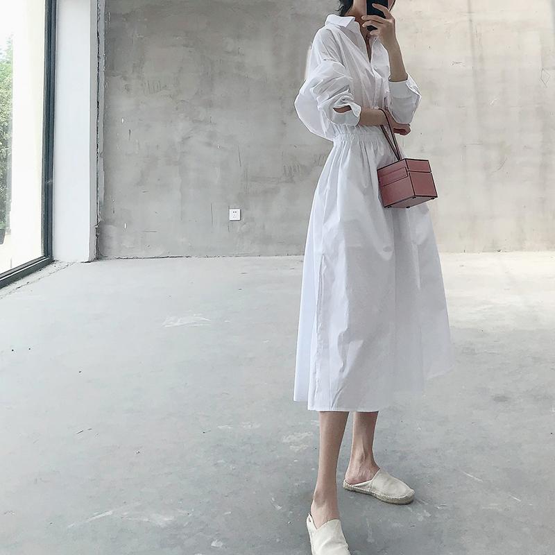2020度假法式气质宽松长袖收腰大摆纯棉白色衬衫连衣裙女中长款潮图片