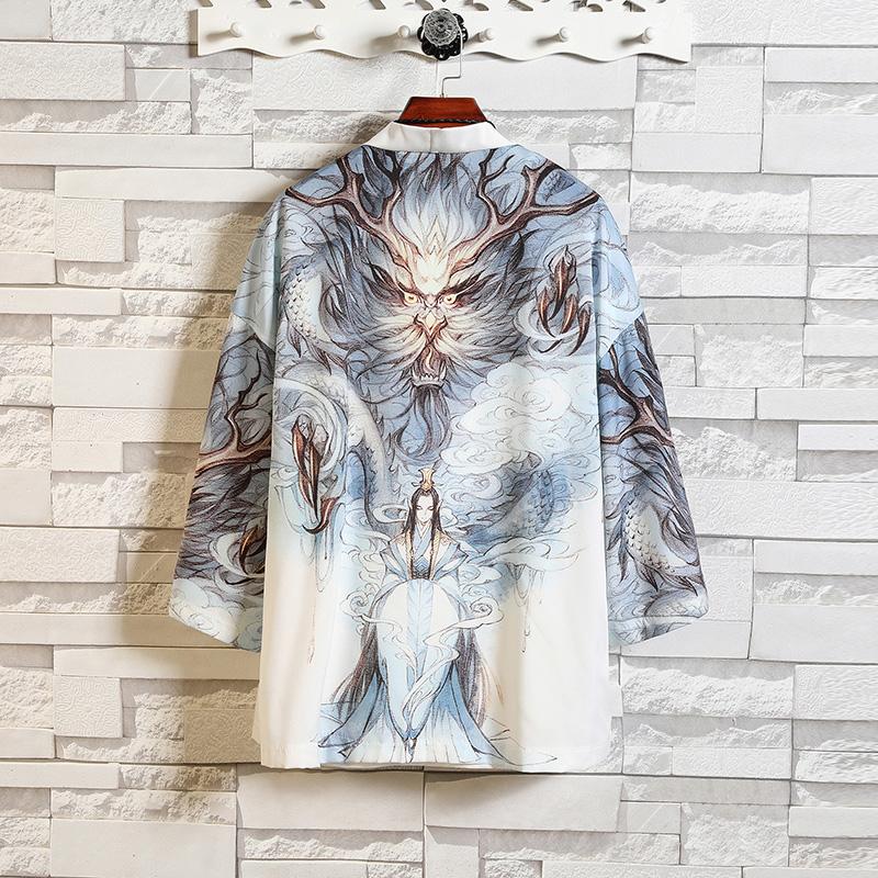 2020夏季中国风男装汉服男青年复古风开衫外套男士仙气披风唐装潮