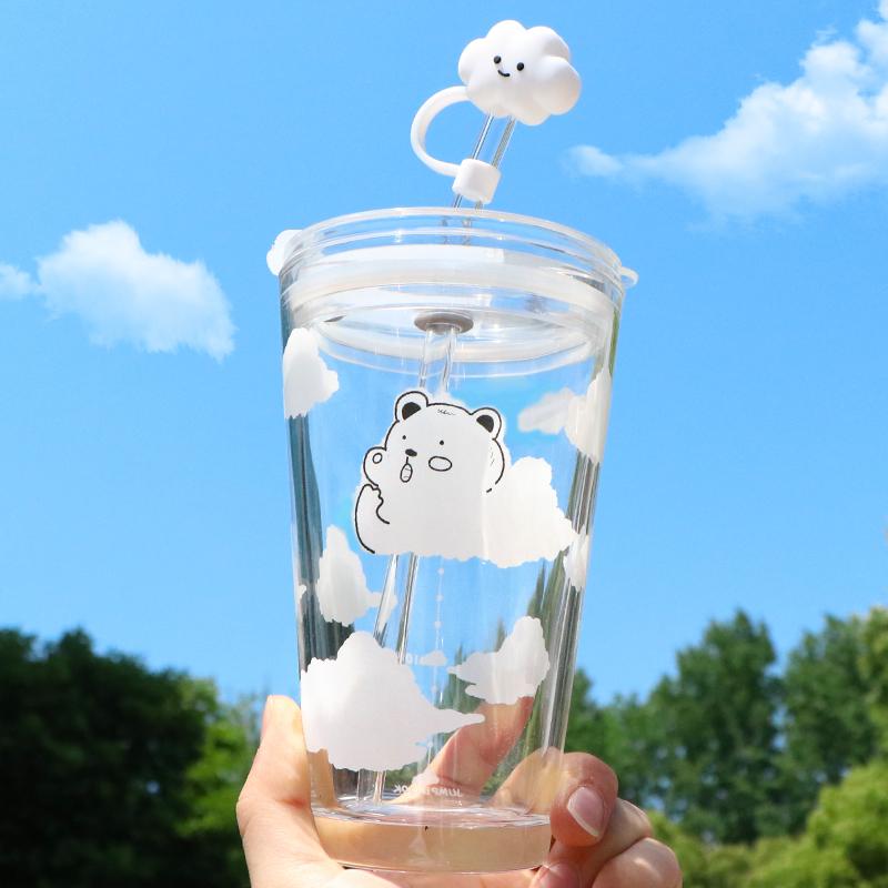 云朵小熊玻璃水杯学生女ins简约日系吸管杯清新森系夏季韩版杯子