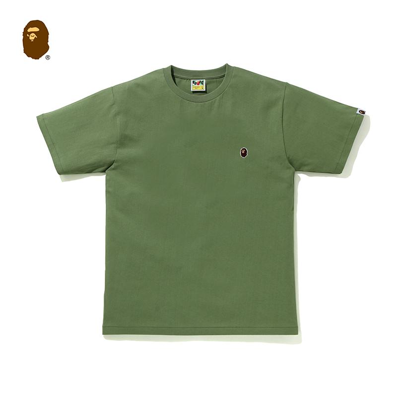 BAPE男装秋冬猿人头刺绣徽章潮流简约纯色多色短袖T恤110003F