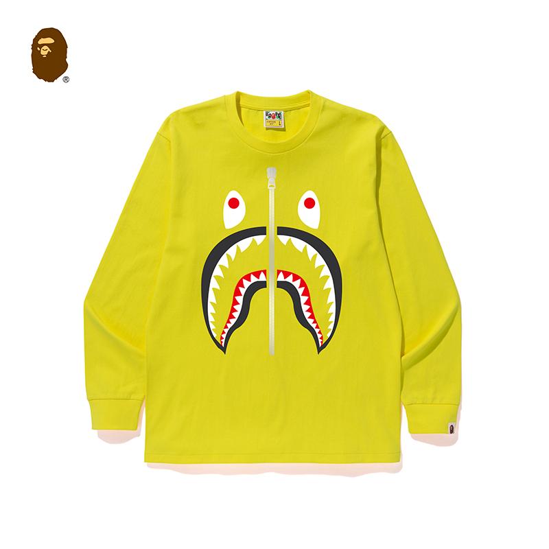 BAPE男装鲨鱼拉链图案印花纯色多色简约长袖T恤111010D