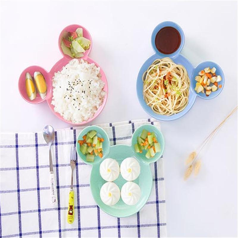 秸秆儿童小孩宝宝餐具米奇碗学吃饭勺子辅食碗耐摔防烫卡通可爱