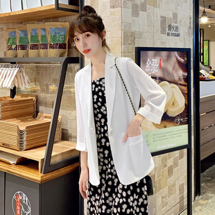 雪纺网红小西装外套女春夏季薄款2020新款韩版时尚休闲宽松防晒衣图片