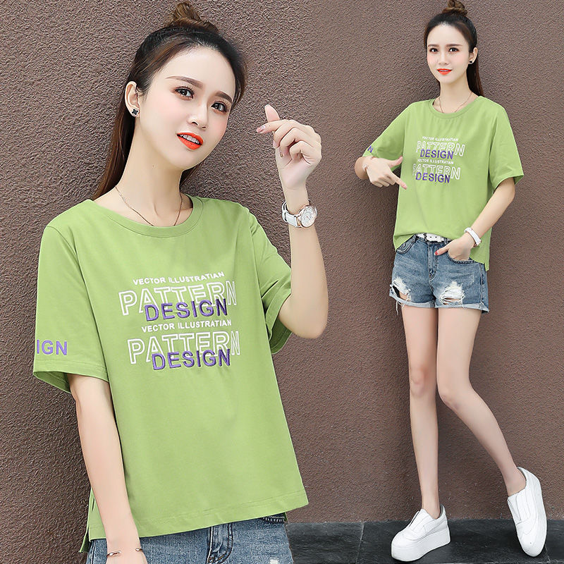 夏季短袖T恤打底小衫2020新款夏季显瘦韩版休闲t恤印花字母卫衣潮