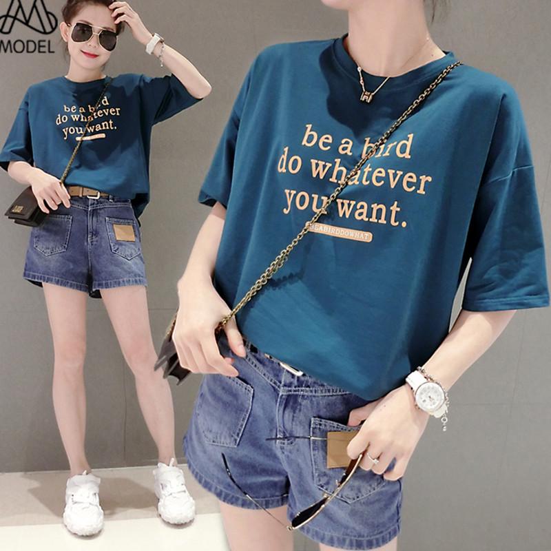 欧洲站短袖t恤女2020年夏季新款宽松纯棉印花蓝色圆领薄款体恤女