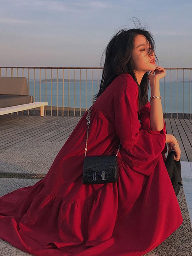 胖妹妹大码仙女裙红色连衣裙复古赫本风夏适合胖人的裙子显瘦洋气