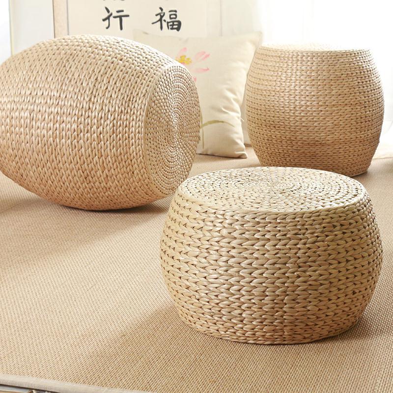 草编坐墩换鞋凳榻榻米圆凳客厅矮凳坐凳板凳沙发凳家用小凳子墩子