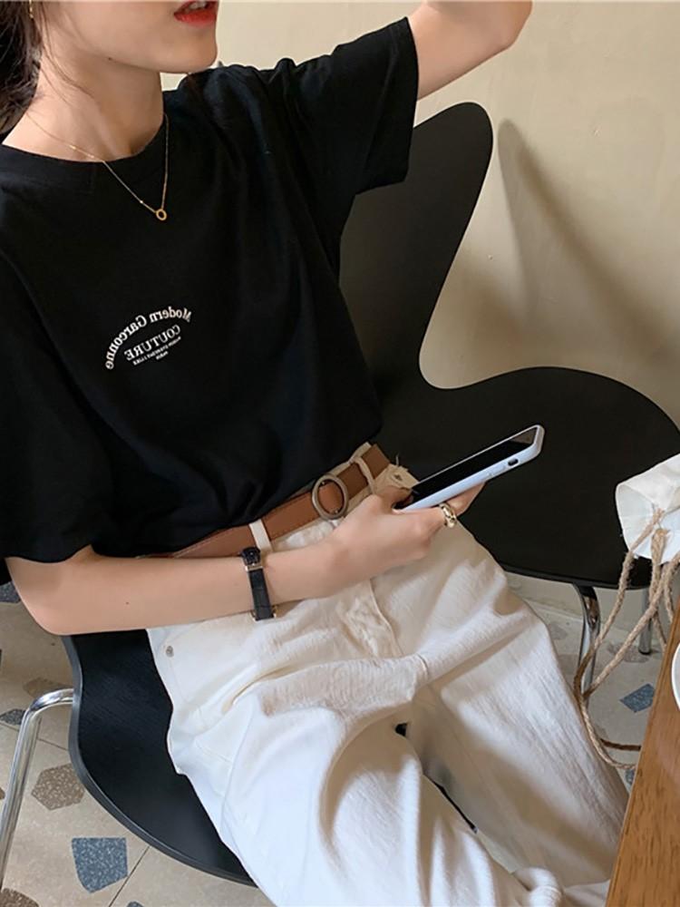 新款潮流女圆领字母休闲百搭韩版时尚经典简约字母纯色短袖T恤ins