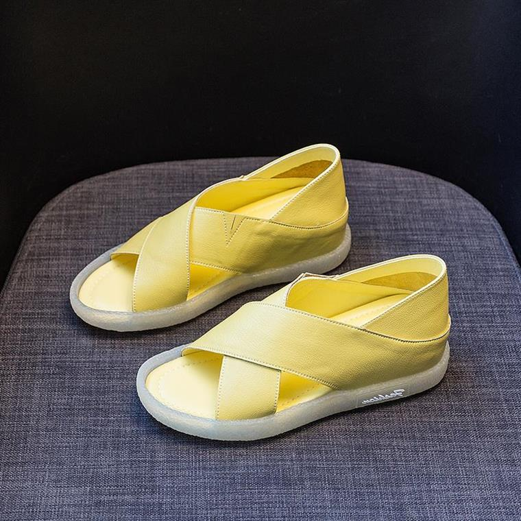 点击查看商品:软底凉鞋女2020年新款百搭时尚鞋子夏季真皮交叉厚底内增高鱼嘴鞋