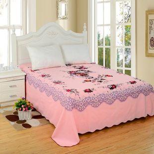 全棉加厚纯棉新中式床单单件斜纹单双人床上海老式怀旧纯棉无名花