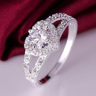 莫桑石心形双排微镶碎钻戒指豪华女戒1克拉钻石婚戒学生闺蜜送礼图片