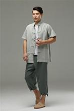 麻凡布ji02021ka男装 中国民族风苎麻盘扣对襟短袖衬衫