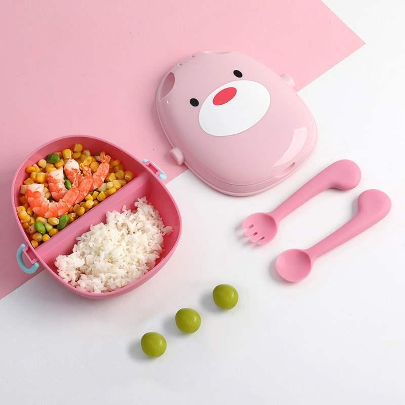 便携式宝宝餐盒勺子套装儿童分格餐盘外出餐具婴幼儿饭盒辅食碗