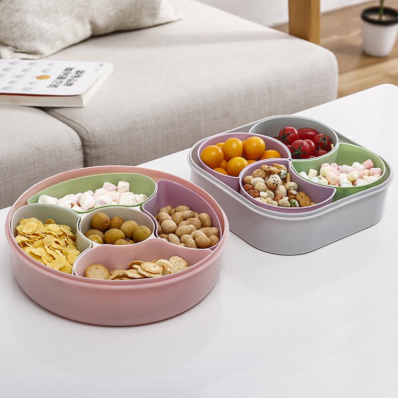 大容量创意过年干果盘家用客厅水果盘分格带盖糖果盒塑料瓜果盘子