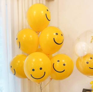 ins韩国同款黄色笑脸表情乳胶气球