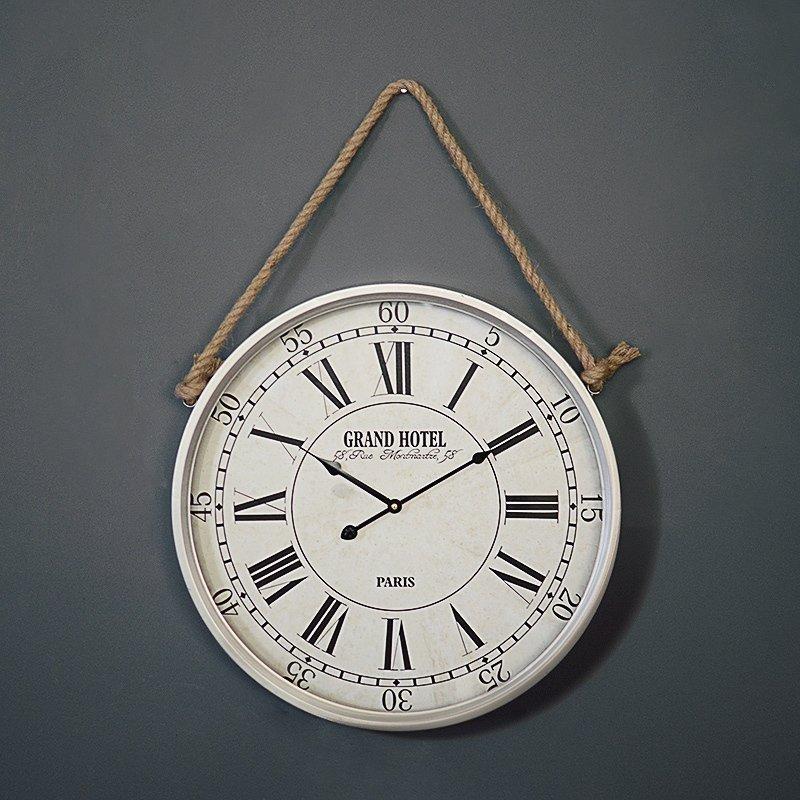 美式复古铁艺家居墙面挂钟欧式简约样板房墙壁装饰钟表咖啡厅时钟