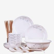 景德镇34件碗碟套装家用陶瓷吃饭碗盘子面碗汤碗大号碗筷餐具组合