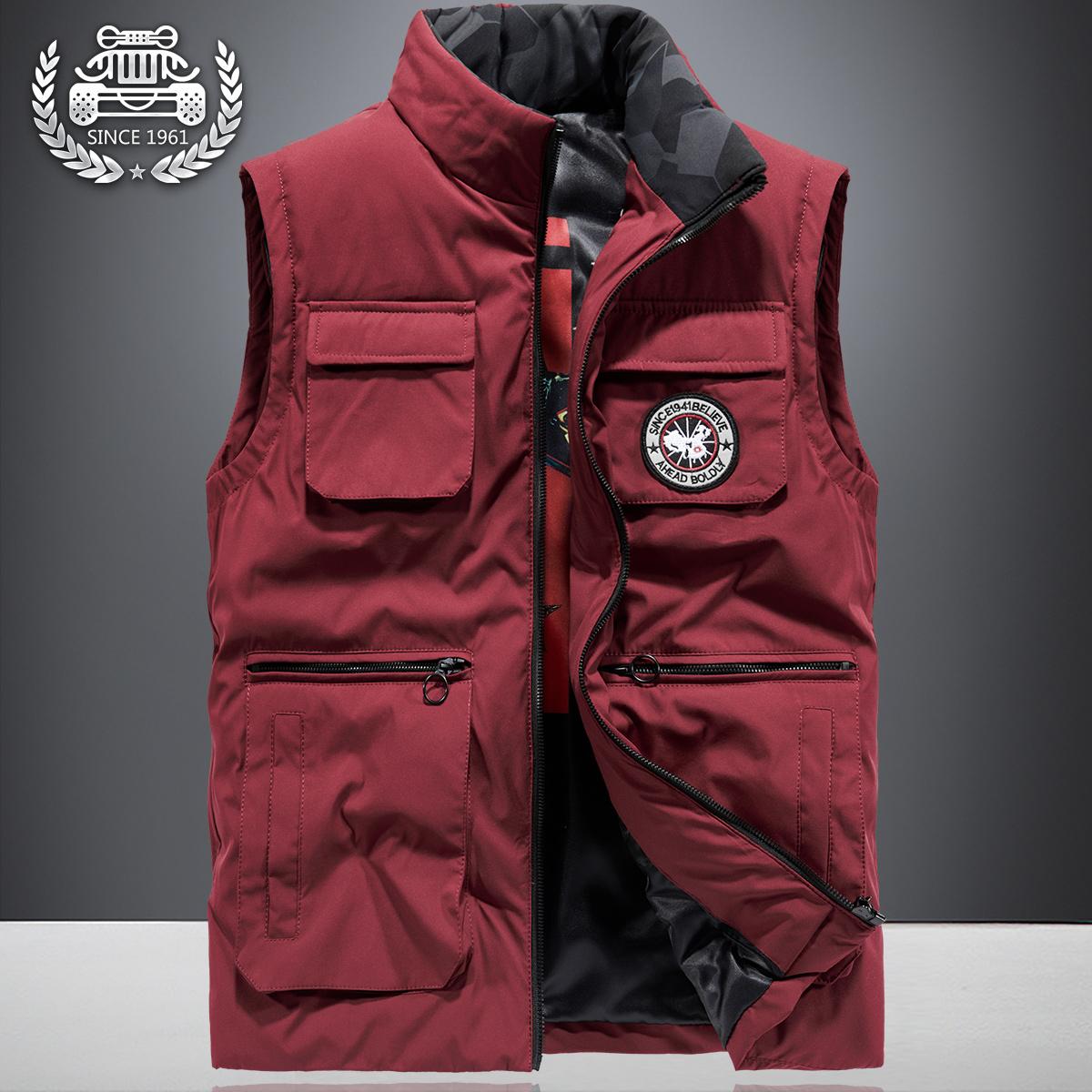 秋冬季马甲男士加厚背心春秋无袖夹克大码多口袋户外坎肩工装外套