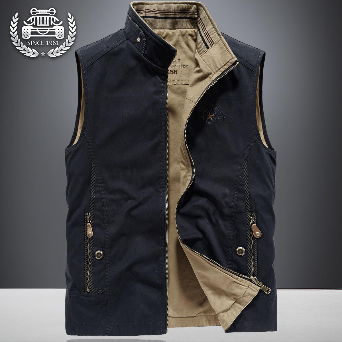 春季双面穿马甲男户外薄款无袖背心牛仔夹克春秋大码宽松工装外套