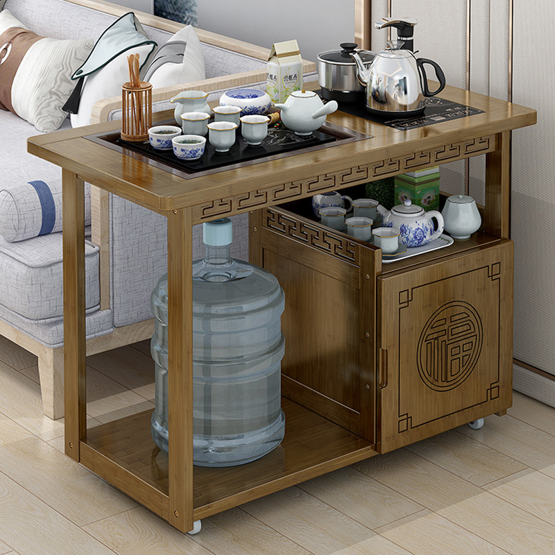 可移动茶车功夫茶桌家用客厅茶几小茶台烧水泡茶柜茶具收纳置物架图片