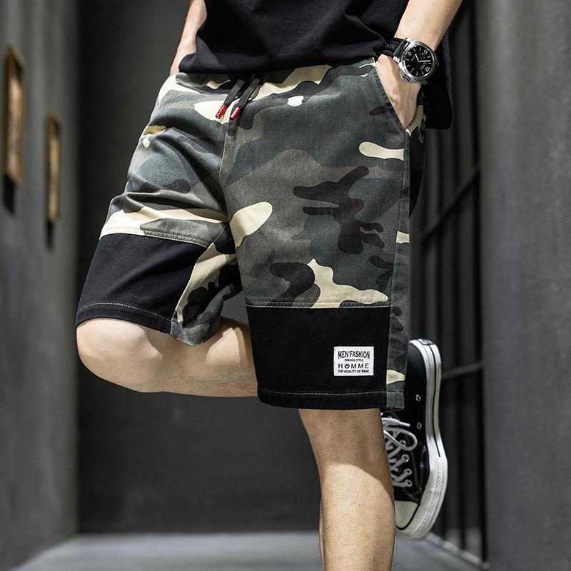 21夏季新款男士五分裤夏季薄款短裤外穿中青年潮流时尚迷彩休闲裤