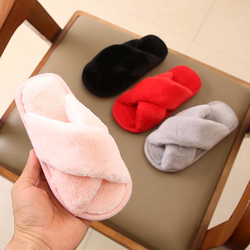 儿童毛毛鞋秋冬新款家居保暖棉托亲子鞋室内一字拖韩版宝宝鞋防滑