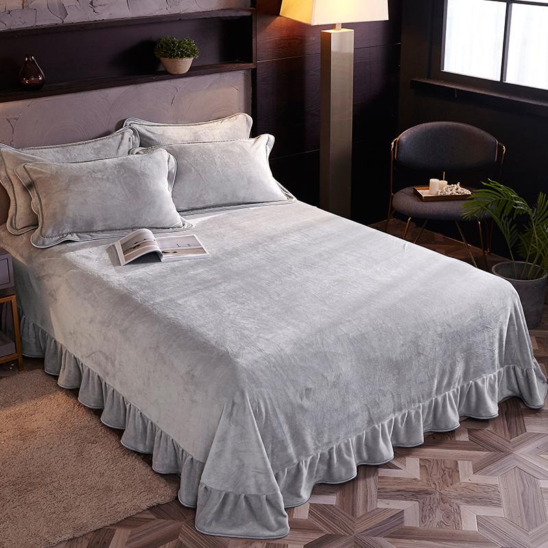 法兰绒加厚保暖珊瑚绒毛毯床单冬季铺床毯子铺毯防滑绒毯垫床冬季