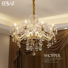 Resa European chandelier living room chandelier luxury atmosphere Jane European restaurant bedroom lamp simple crystal hanging lamp home