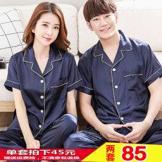 夏季冰丝情侣睡衣韩版性感清新学生春男女士仿真丝绸短袖长裤套装