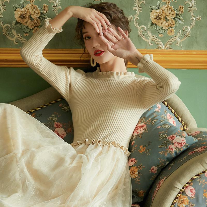 网纱拼接打底中长款毛衣裙过膝