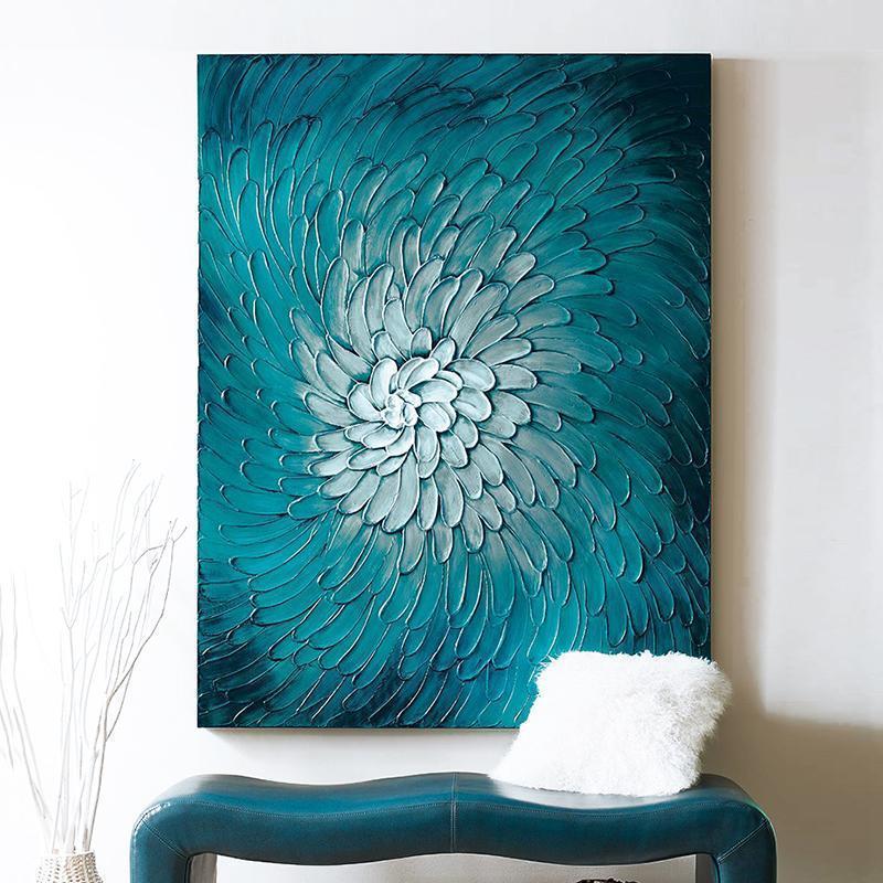 竖版过道走廊现代简约手绘油画电表箱壁画抽象玄关装饰画挂画定制
