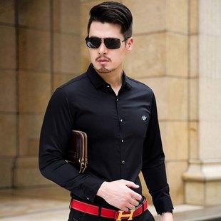 德国宝马男装长袖衬衫中年韩版修身男士纯色丝光棉商务衬衣免烫春