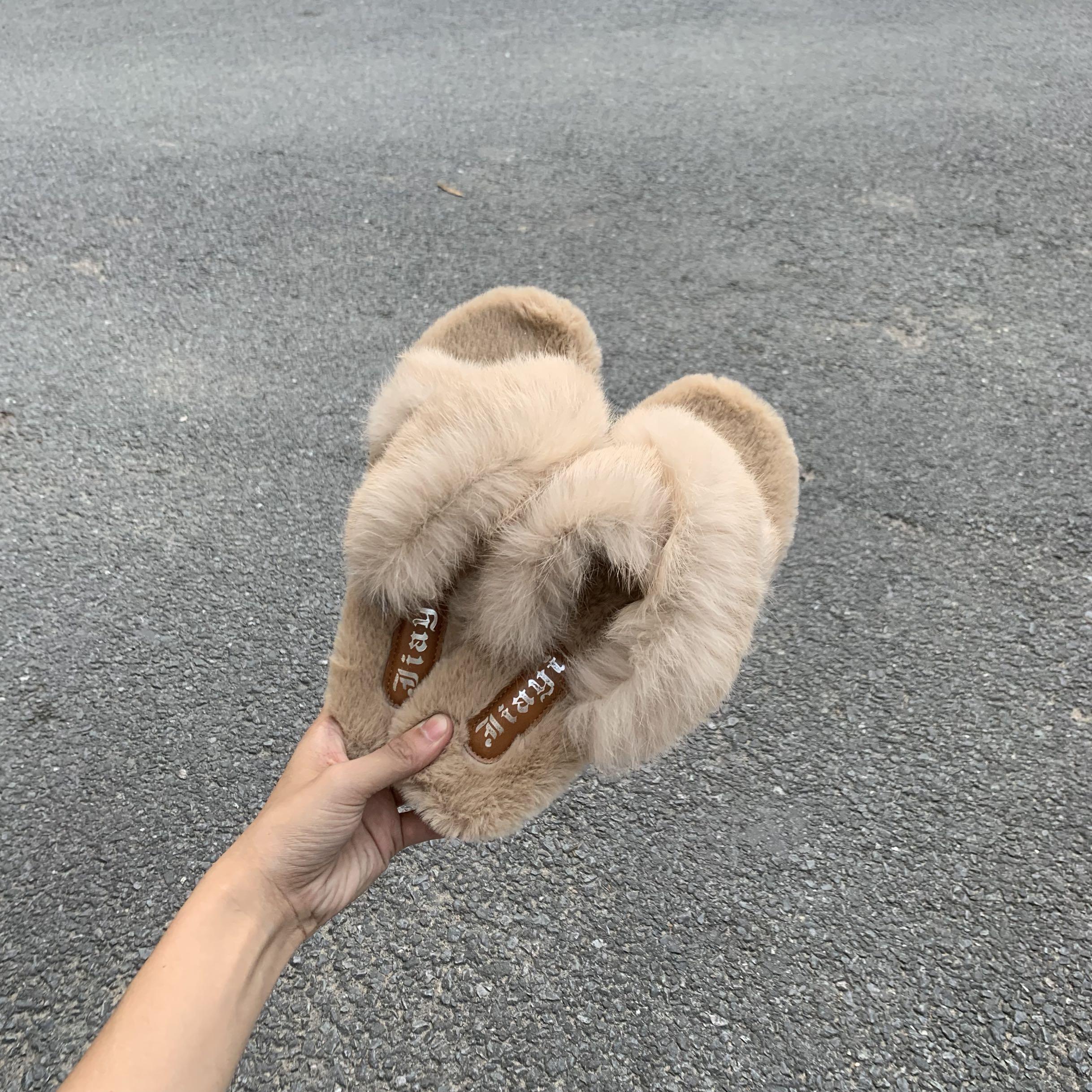 实拍 毛毛拖鞋女夏2018新款外穿时尚韩版包头平底社会秋冬-Nikki-