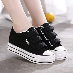 2020 spring new thick bottom canvas shoes women's shoes Velcro wild student shoes black white shoes