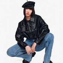 2021年秋季新式纯色时髦PU皮衣外套
