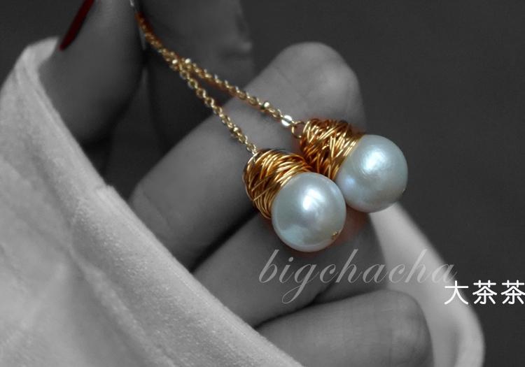人鱼姬。巴洛克海水珍珠耳环。